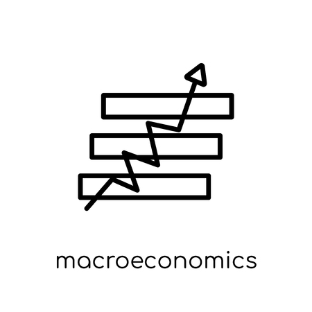 Makroökonomie-Symbol. Trendiges modernes flaches lineares Vektorsymbol für Makroökonomie auf weißem Hintergrund aus dünner Linie Business-Kollektion, bearbeitbare Umriss-Stroke-Vektorillustration