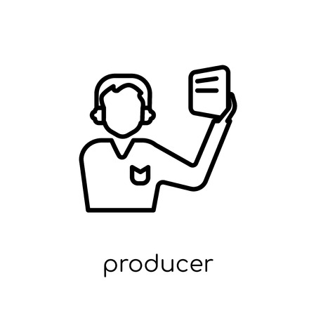 producer icon. Trendy modern flat linear vector producer icon on white background from thin line Cinema collection, editable outline stroke vector illustration Çizim