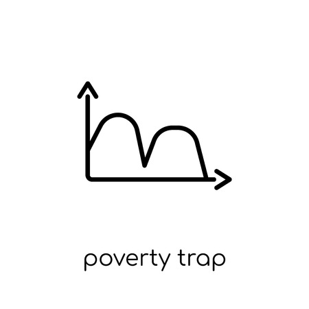 Poverty trap icon. Trendy modern flat linear vector Poverty trap icon on white background from thin line business collection, editable outline stroke vector illustration