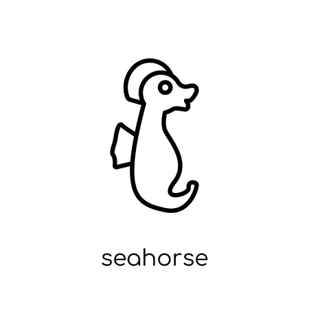 Seahorse icon. Trendy modern flat linear vector Seahorse icon on white background from thin line animals collection, editable outline stroke vector illustration