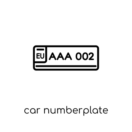 car numberplate icon. Trendy modern flat linear vector car numberplate icon on white background from thin line Car parts collection, outline vector illustration