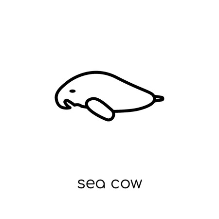 Sea cow icon. Trendy modern flat linear vector Sea cow icon on white background from thin line animals collection, editable outline stroke vector illustration Çizim