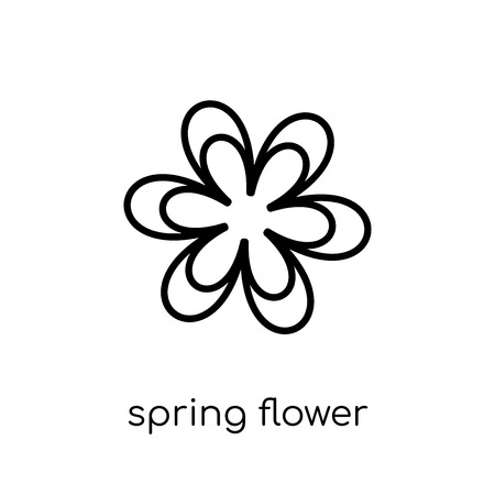spring flower icon. Trendy modern flat linear vector spring flower icon on white background from thin line Agriculture, Farming and Gardening collection, outline vector illustration