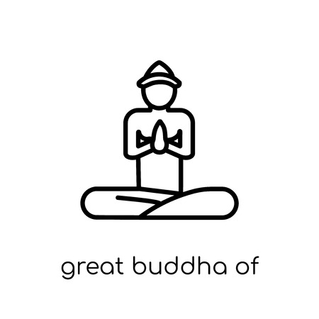 great buddha of thailand icon. Trendy modern flat linear vector great buddha of thailand icon on white background from thin line Architecture and Travel collection, outline vector illustration