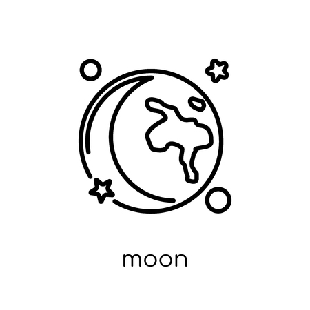 moon icon. Trendy modern flat linear vector moon icon on white background from thin line Astronomy collection, outline vector illustration
