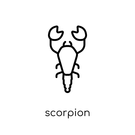 Icono de escorpión. Moda moderno icono de escorpión vector plano lineal sobre fondo blanco de colección de animales de línea fina, Ilustración de vector de movimiento editables contorno Ilustración de vector