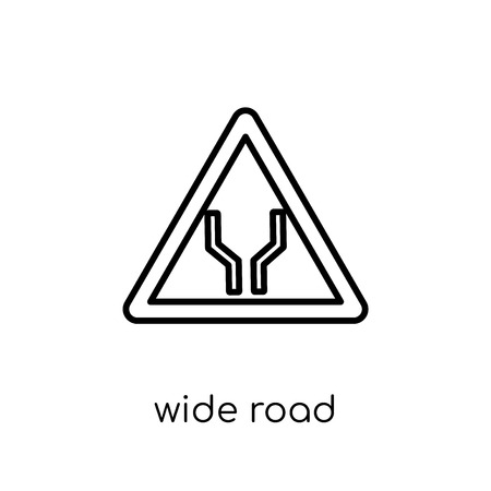 Wide road sign icon. Trendy modern flat linear vector Wide road sign icon on white background from thin line traffic sign collection, editable outline stroke vector illustration