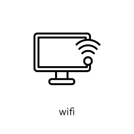 wifi signal icon. Trendy modern flat linear vector wifi signal icon on white background from thin line Communication collection, outline vector illustration