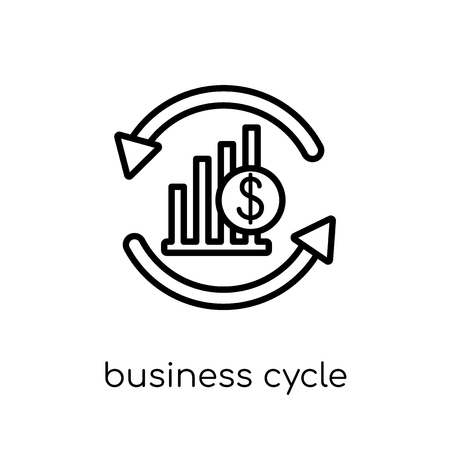business cycle icon. Trendy modern flat linear vector business cycle icon on white background from thin line Business cycle collection, outline vector illustration