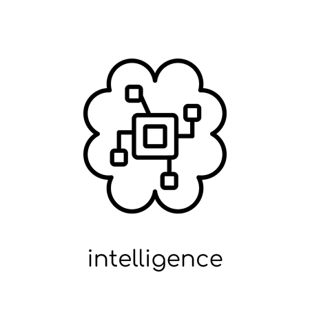 intelligence icon. Trendy modern flat linear vector intelligence icon on white background from thin line Artificial Intelligence, Future Technology collection, outline vector illustration Çizim