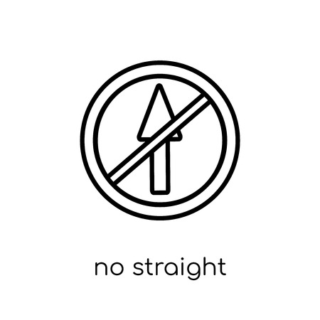 No straight sign icon. Trendy modern flat linear vector No straight sign icon on white background from thin line traffic sign collection, editable outline stroke vector illustration
