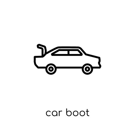 car boot icon. Trendy modern flat linear vector car boot icon on white background from thin line Car parts collection, outline vector illustration