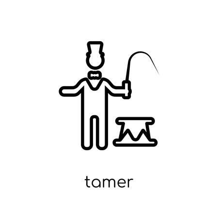 tamer icon. Trendy modern flat linear vector tamer icon on white background from thin line Circus collection, outline vector illustration  イラスト・ベクター素材