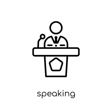 speaking icon. Trendy modern flat linear vector speaking icon on white background from thin line Communication collection, outline vector illustration Ilustração
