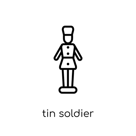 tin soldier icon. Trendy modern flat linear vector tin soldier icon on white background from thin line Christmas collection, outline vector illustration