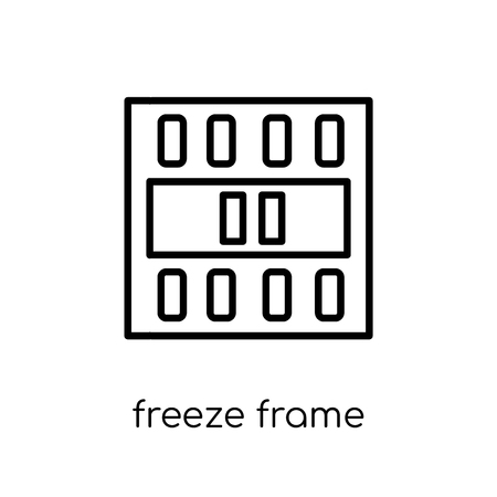 freeze frame icon. Trendy modern flat linear vector freeze frame icon on white background from thin line Cinema collection, editable outline stroke vector illustration Reklamní fotografie - 112280281