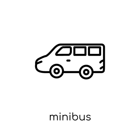 minibus icon. Trendy modern flat linear vector minibus icon on white background from thin line Transportation collection, outline vector illustration