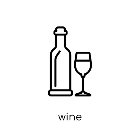 wine icon. Trendy modern flat linear vector wine icon on white background from thin line Drinks collection, outline vector illustration
