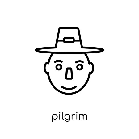 Pilgrim icon. Trendy modern flat linear vector Pilgrim icon on white background from thin line United States of America collection, editable outline stroke vector illustration Archivio Fotografico - 112280287