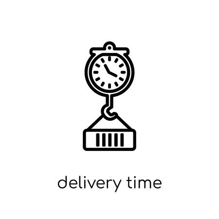 icono de tiempo de entrega. Moda moderno icono de tiempo de entrega vector plano lineal sobre fondo blanco de línea fina Entrega y recogida logística, ilustración vectorial de contorno Ilustración de vector