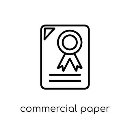 commercial paper icon. Trendy modern flat linear vector commercial paper icon on white background from thin line Commercial paper collection, outline vector illustration Çizim