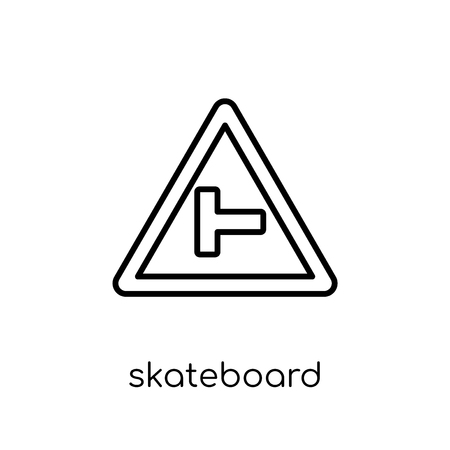 Skateboard sign icon. Trendy modern flat linear vector Skateboard sign icon on white background from thin line traffic sign collection, editable outline stroke vector illustration