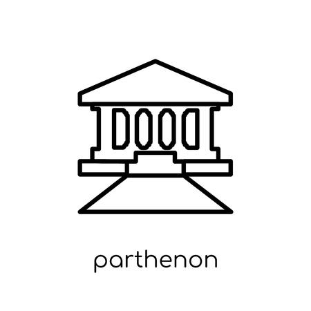 Parthenon-Symbol. Trendiges modernes flaches lineares Vektor-Parthenon-Symbol auf weißem Hintergrund aus dünner Linie Architektur- und Reisesammlung, bearbeitbare Konturstrich-Vektorillustration
