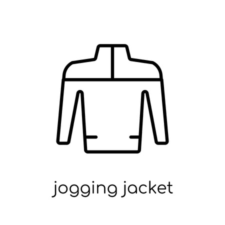 Joggingjacke-Symbol. Trendiges, modernes, flaches, lineares Vektor-Jogging-Jackensymbol auf weißem Hintergrund aus der dünnen Linie Jogging-Jackensammlung, Umrissvektorillustration