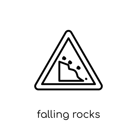 Falling rocks sign icon. Trendy modern flat linear vector Falling rocks sign icon on white background from thin line traffic sign collection, editable outline stroke vector illustration Illustration