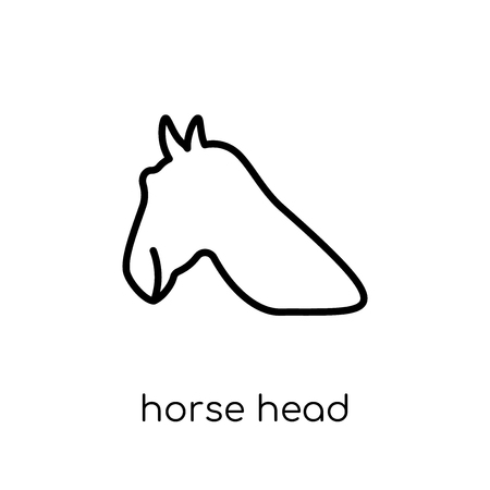horse head icon. Trendy modern flat linear vector horse head icon on white background from thin line American Indigenous Signals collection, outline vector illustration Stok Fotoğraf - 112279470