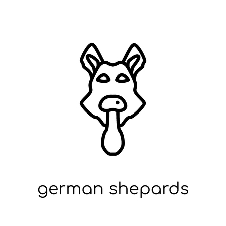 German Shepards dog icon. Trendy modern flat linear vector German Shepards dog icon on white background from thin line dogs collection, editable outline stroke vector illustration Vettoriali