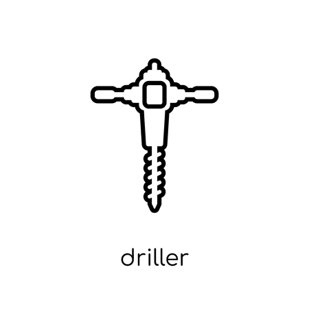 Driller icon. Trendy modern flat linear vector Driller icon on white background from thin line Construction collection, editable outline stroke vector illustration Stock Illustratie