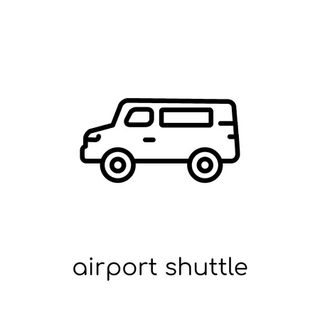 airport shuttle icon. Trendy modern flat linear vector airport shuttle icon on white background from thin line Transportation collection, outline vector illustration