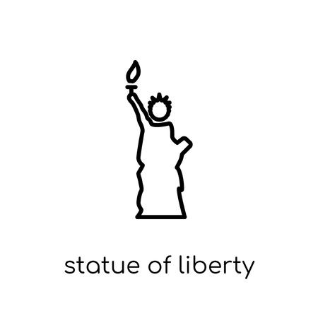 Icona della statua della libertà. Icona moderna tendenza di statua della libertà piatto lineare di vettore su priorità bassa bianca sottile linea collezione Stati Uniti d'America, illustrazione di vettore di corsa di profilo modificabile Vettoriali