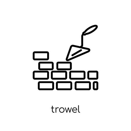 Ikona kielnia. Modny nowoczesny płaski liniowy wektor ikona kielni na białym tle z cienkiej linii kolekcja budowlana, edytowalna ilustracja wektorowa obrysu konturu