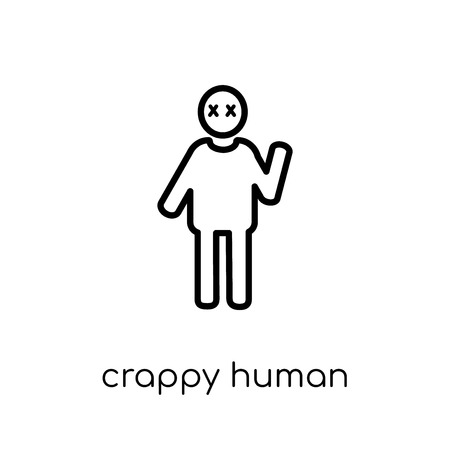 crappy human icon. Trendy modern flat linear vector crappy human icon on white background from thin line Feelings collection, editable outline stroke vector illustration Illustration