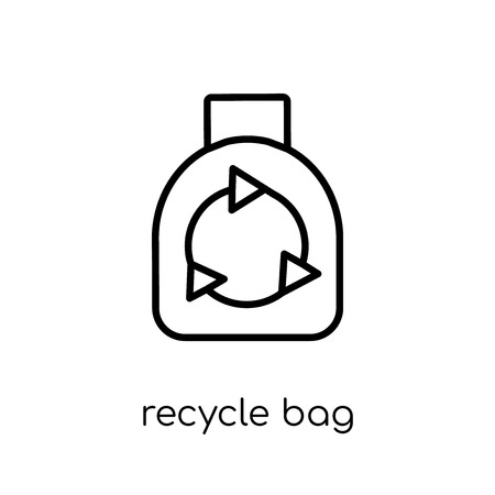 recycle bag icon. Trendy modern flat linear vector recycle bag icon on white background from thin line Ecology collection, outline vector illustration Illustration