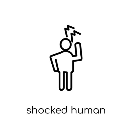 shocked human icon. Trendy modern flat linear vector shocked human icon on white background from thin line Feelings collection, editable outline stroke vector illustration