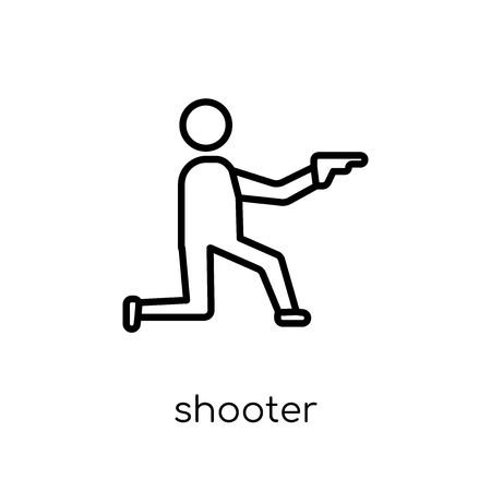 shooter icon. Trendy modern flat linear vector shooter icon on white background from thin line Arcade collection, outline vector illustration Иллюстрация