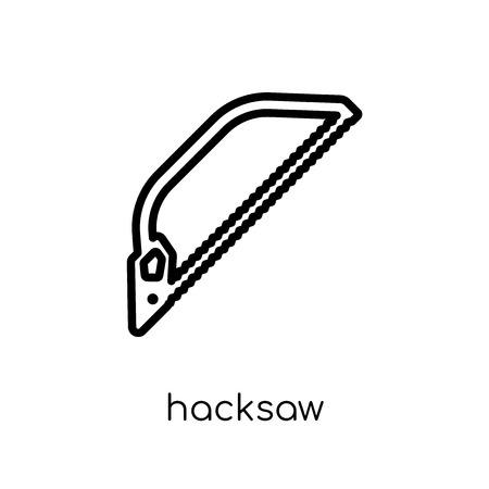 Hacksaw icon. Trendy modern flat linear vector Hacksaw icon on white background from thin line Construction collection, editable outline stroke vector illustration