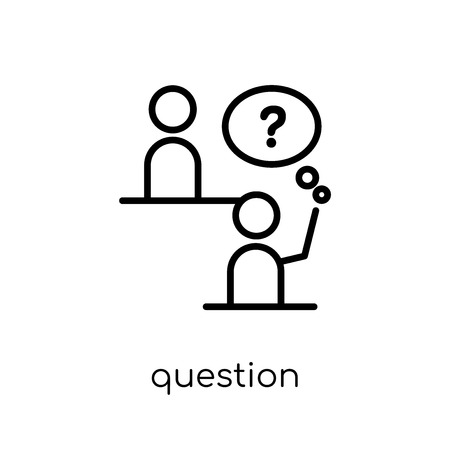 Question icon. Trendy modern flat linear vector Question icon on white background from thin line E-learning and education collection, editable outline stroke vector illustration Illustration