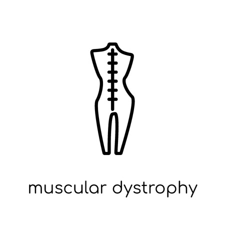 Muscular dystrophy icon. Trendy modern flat linear vector Muscular dystrophy icon on white background from thin line Diseases collection, editable outline stroke vector illustration Stock Vector - 111331359