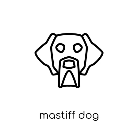 Mastiff dog icon. Trendy modern flat linear vector Mastiff dog icon on white background from thin line dogs collection, editable outline stroke vector illustration