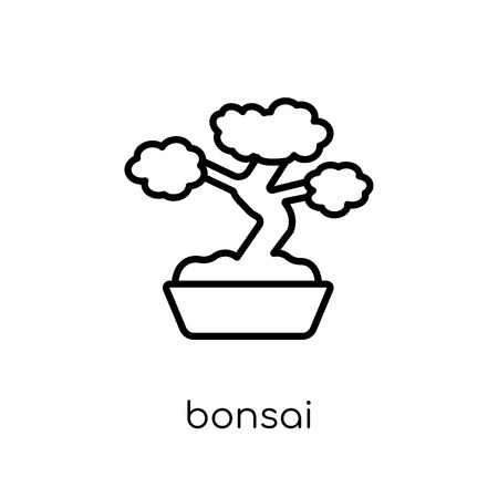 bonsai icon. Trendy modern flat linear vector bonsai icon on white background from thin line Ecology collection, outline vector illustration
