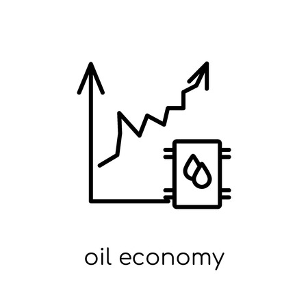 Oil economy icon. Trendy modern flat linear vector Oil economy icon on white background from thin line Cryptocurrency economy and finance collection, editable outline stroke vector illustration Ilustrace
