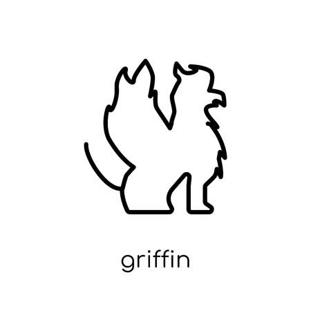 Griffin icon. Trendy modern flat linear vector Griffin icon on white background from thin line Fairy Tale collection, editable outline stroke vector illustration Banque d'images - 112276953