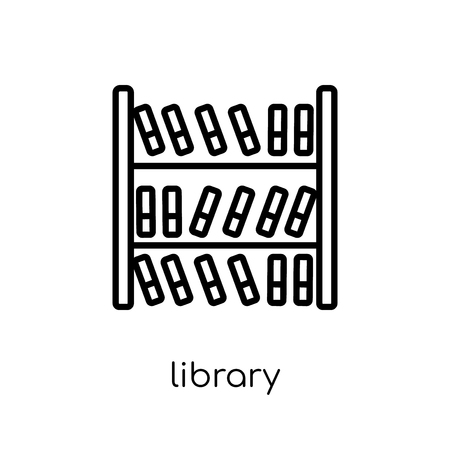Library icon. Trendy modern flat linear vector Library icon on white background from thin line E-learning and education collection, editable outline stroke vector illustration Ilustración de vector