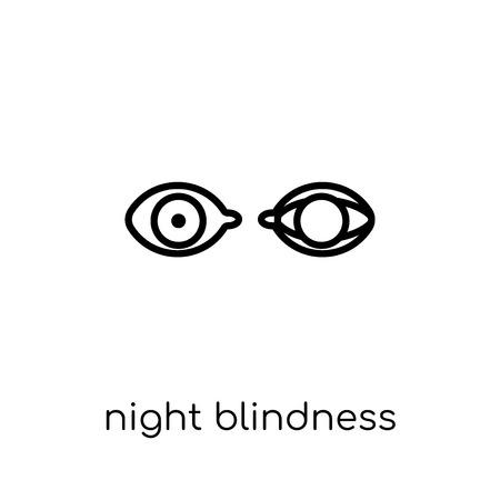 Icona di cecità notturna. Icona moderna tendenza di cecità notturna piatto lineare di vettore su priorità bassa bianca da collezione di malattie di linea sottile, illustrazione di vettore di corsa di profilo modificabile