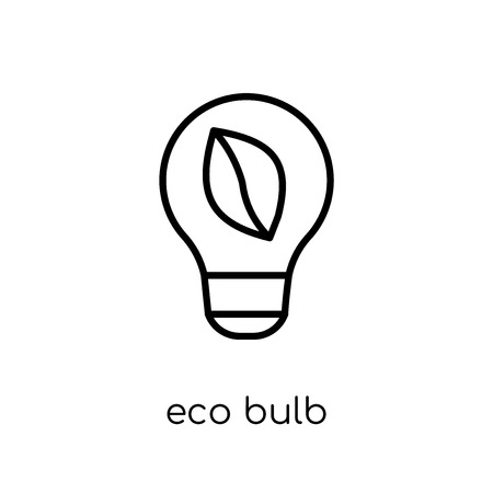 eco bulb icon. Trendy modern flat linear vector eco bulb icon on white background from thin line Ecology collection, outline vector illustration Standard-Bild - 112276961
