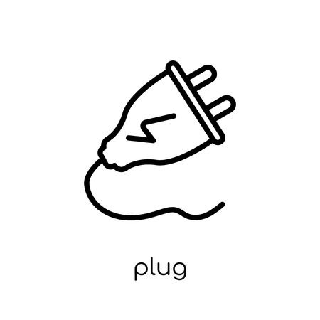 Icono de enchufe. Moda moderno icono de enchufe vector plano lineal sobre fondo blanco de línea fina colección de dispositivos electrónicos, Ilustración de vector de movimiento editables contorno